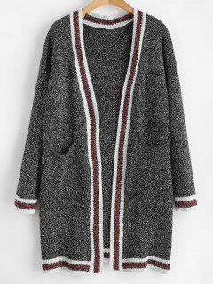 Striped Heathered Open Front Cardigan - Carbon Gray