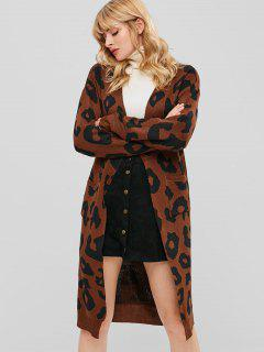 Open Front Longline Cardigan With Pockets - Multi S