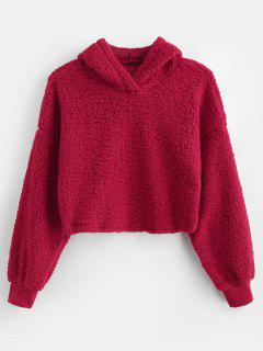 Drop Shoulder Fluffy Boxy Hoodie - Red M