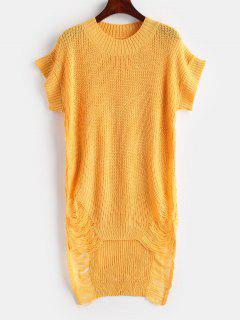 Distressed High Low Tunika Pullover - Helles Gelb