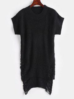 Distressed High Low Tunic Sweater - Black