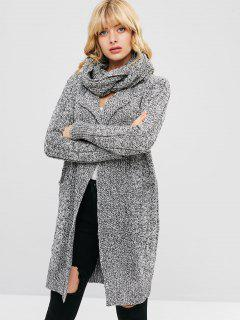 Heather Pocket Scarf Cardigan - Light Gray