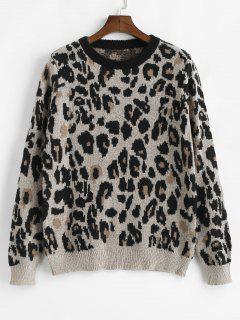 Loose Fit Leopard Sweater - Leopard