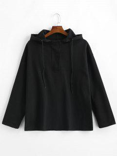 Snap Button Plain Hoodie - Black M