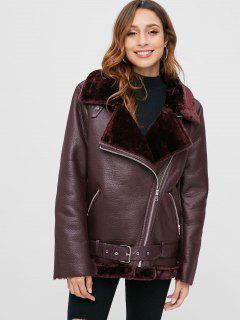 PU Leather Zip Up Sheepskin Coat - Dull Purple Xl
