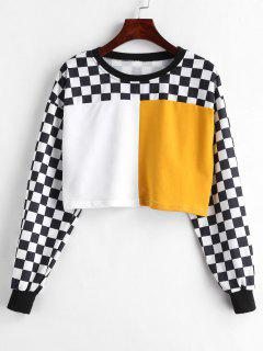 Color Block Checkered Crop Sweatshirt - Multi S