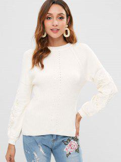 Faux Pearl Embellished Lantern Sleeve Sweater - White