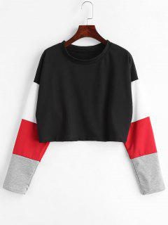 Color Block Drop Shoulder Crop T-shirt - Black M