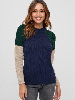 Color Block Raglan Sleeve Casual Sweater - Cadetblue
