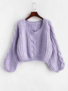 Suéter De Punto De Cable Recortado Grueso - Color De Malva