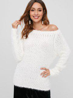 Fuzzy Raglan Sleeve Chunky Sweater - White