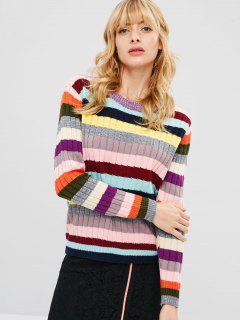 Colorful Striped Pullover Sweater - Multi-a