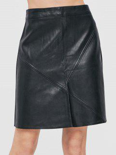 Back Zipper Faux Leather Mini Skirt - Black L