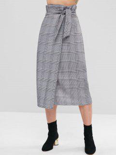 Belted Plaid Overlap Skirt - Black S