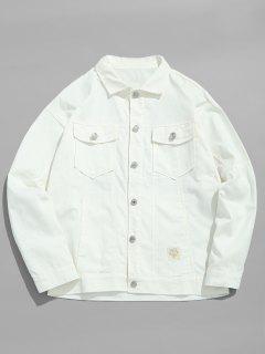 Solide Dünne Jeansjacke - Weiß M