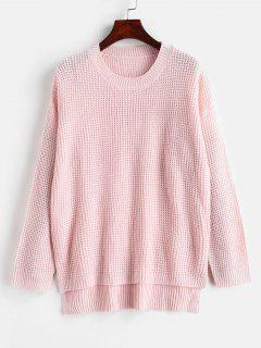 Slit Loose High Low Sweater - Light Pink