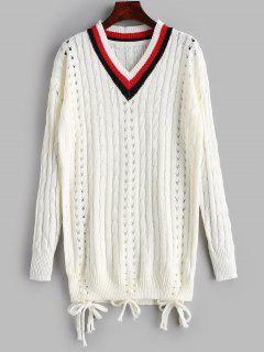 Openwork Cable Knit Tunic Sweater - White