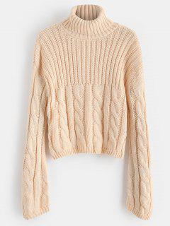 Drop Shoulder Turtleneck Loose Sweater - Sakura Pink