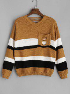 Pocket Schnür-Pullover Mit V-Ausschnitt - Biene Gelb