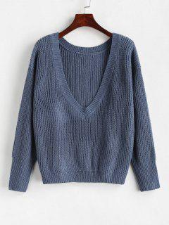 Loose Plain V Neck Sweater - Marble Blue