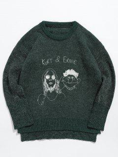 Cartoon Head Graphic Knit Sweater - Medium Sea Green M