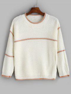 Jersey Con Cuello Redondo De Encaje En Contraste - Blanco
