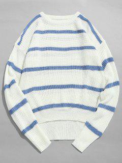 Asymmetrical Hem Striped Knit Sweater - White Xl