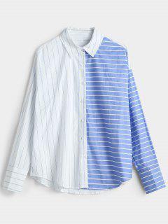 Tee-shirt Ample à Rayures Et épaules Dénudées - Bleu Léger  M