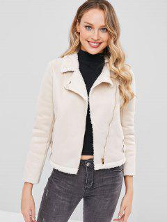 Suded Jacket With Fur Collar - Beige L