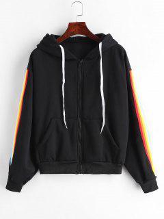 Striped Side Fleece Hooded Jacket - Black M
