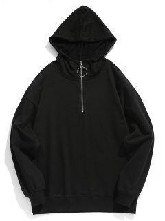 Solid Half Zip Hoodie - Black M