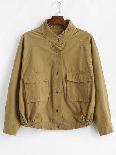 Raglan Sleeve Snap Button Jacket - Cookie Brown