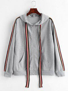Striped Side Hooded Jacket - Gray M