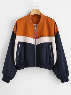 Color Block Zip Up Graphic Jacket - Multi S