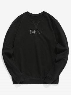 Embroidered Letter Casual Sweatshirt - Black Xs