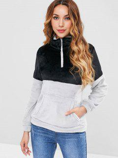 Two Tone Plush Sweatshirt - Black Xl