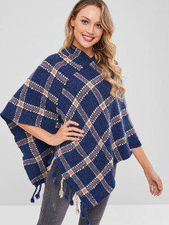 Asymmetric Plaid Poncho Fringed Sweater - Multi