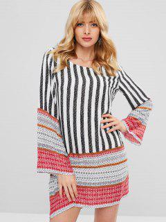 Long Sleeve Stripes Printed Shift Dress - Multi Xl