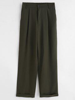 Rolled Straight Pants - Fern Green L