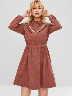 Half Button Ruffles Corduroy Dress - Orange Salmon M