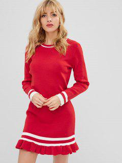 Striped Ruffle Mini Dress - Red