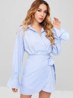 Long Sleeve Surplice Striped Shirt Dress - Baby Blue L