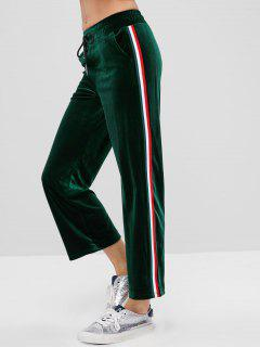 Side Striped Drawstring Velvet Pants - Deep Green L