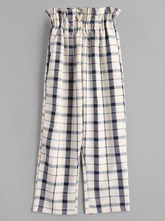 Pantalones De Cuadros De Cintura Con Volantes - Multicolor M