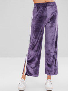 Side Stripe Split Velvet Wide Leg Pants - Purple L