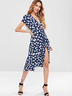Vestido Con Estampado Floral Midi - Azul De Medianoche L