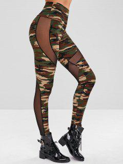 Mesh Panel Camo Print Leggings - Acu Camouflage