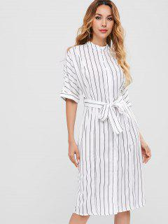 Cuffed Sleeves Belted Striped Dress - White L