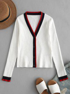 Striped Button Up Fitted Cardigan - White L