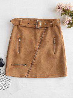 Faux Suede Zipper Bodycon Skirt - Cinnamon M